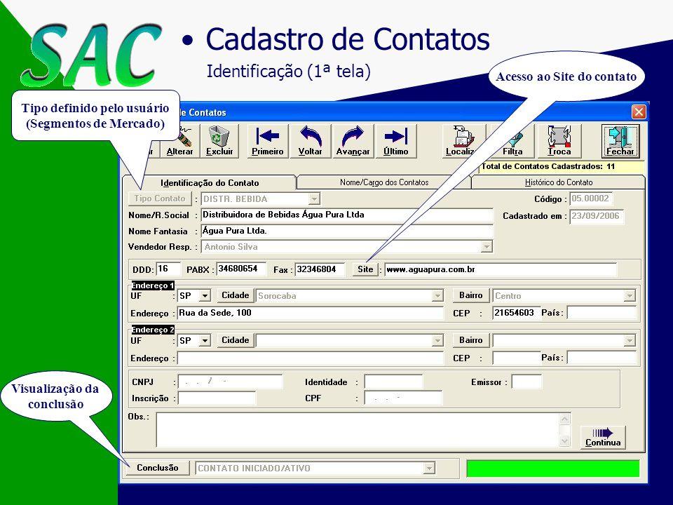 Cadastro de Contatos Identificação (1ª tela) Acesso ao Site do contato