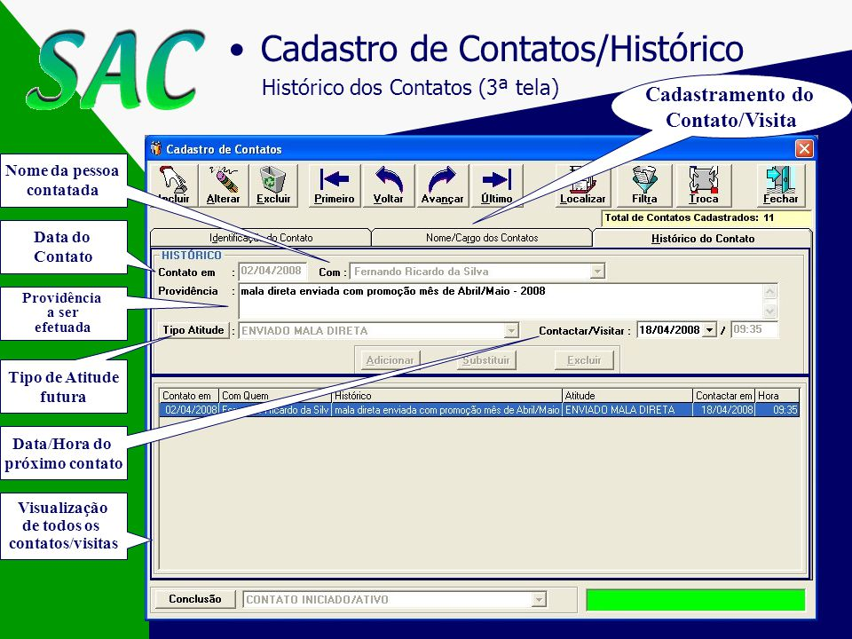 Cadastro de Contatos/Histórico