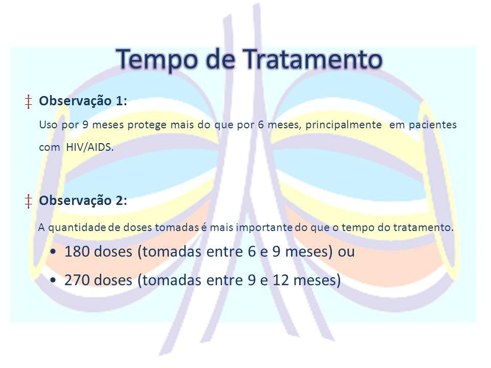 Tempo de Tratamento 180 doses (tomadas entre 6 e 9 meses) ou