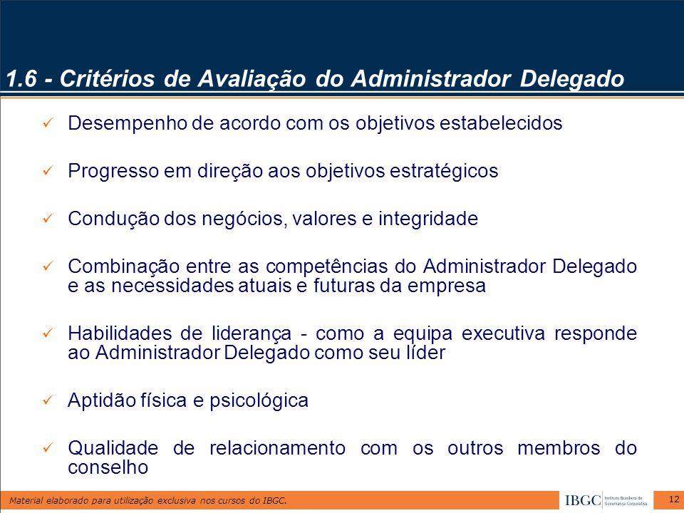 1.6 - Critérios de Avaliação do Administrador Delegado