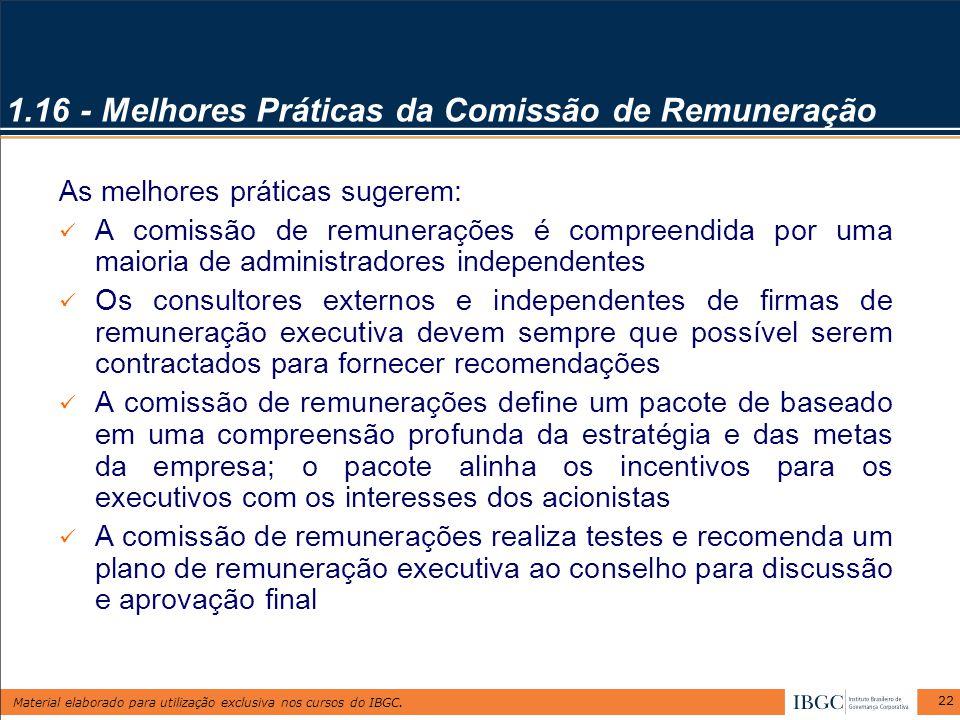 1.16 - Melhores Práticas da Comissão de Remuneração