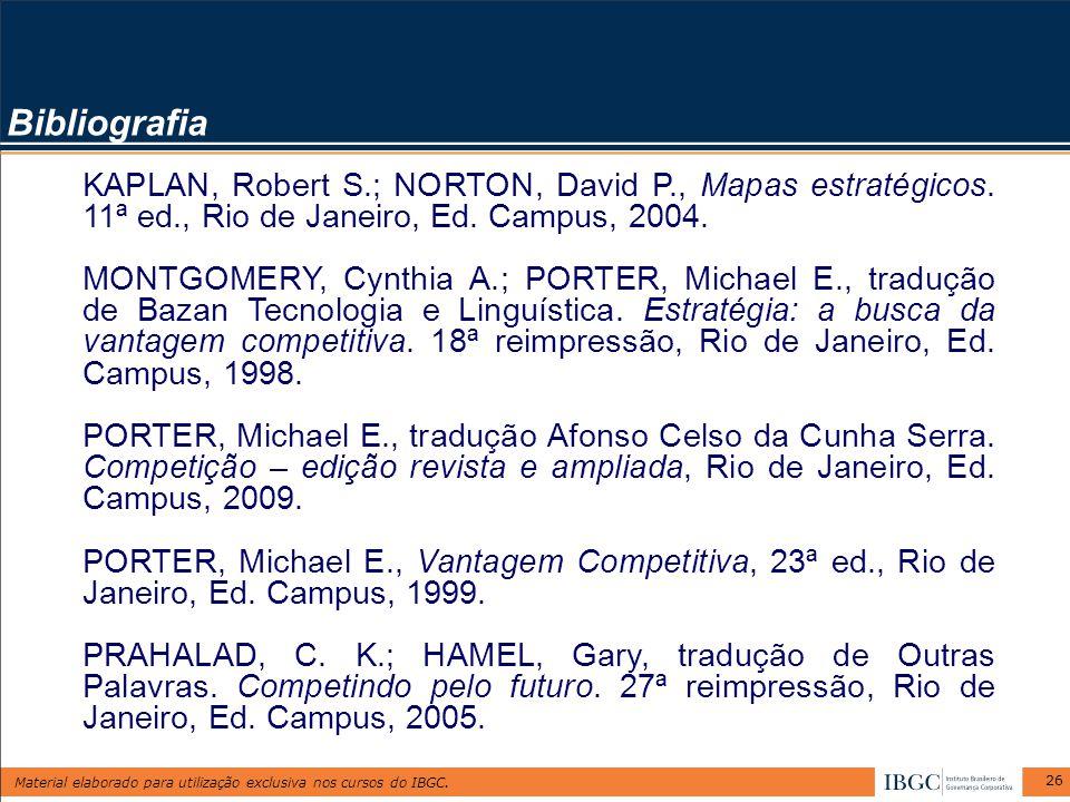 Bibliografia KAPLAN, Robert S.; NORTON, David P., Mapas estratégicos. 11ª ed., Rio de Janeiro, Ed. Campus, 2004.