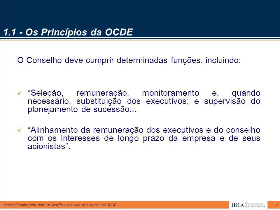 1.1 - Os Princípios da OCDE O Conselho deve cumprir determinadas funções, incluindo: