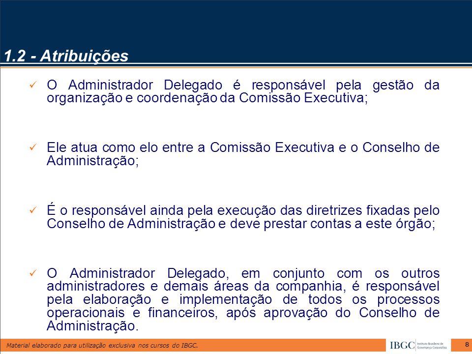 1.2 - Atribuições O Administrador Delegado é responsável pela gestão da organização e coordenação da Comissão Executiva;