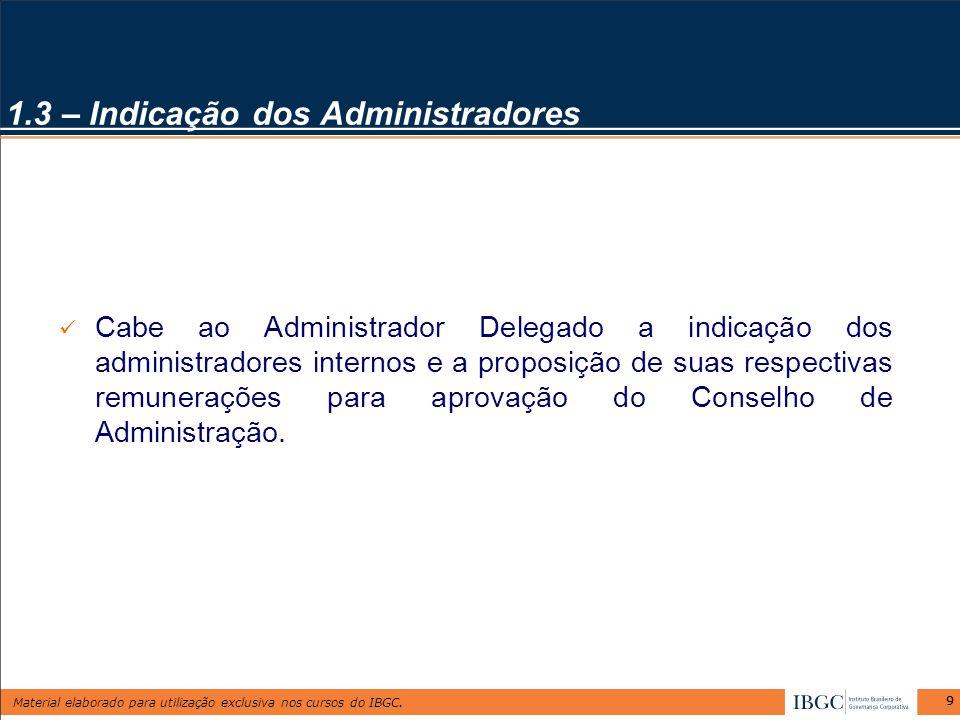 1.3 – Indicação dos Administradores