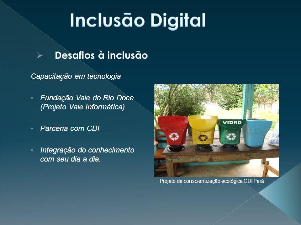 Inclusão Digital Desafios à inclusão Capacitação em tecnologia
