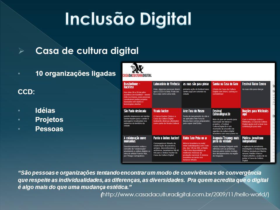 Inclusão Digital Casa de cultura digital 10 organizações ligadas CCD: