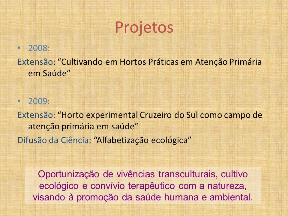 Projetos 2008: Extensão: Cultivando em Hortos Práticas em Atenção Primária em Saúde 2009: