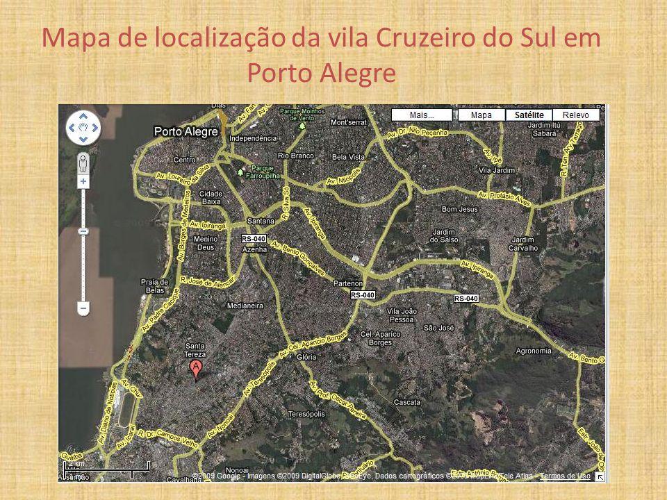 Mapa de localização da vila Cruzeiro do Sul em Porto Alegre