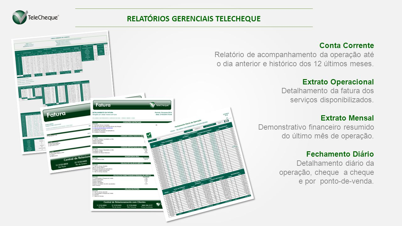 RELATÓRIOS GERENCIAIS TELECHEQUE