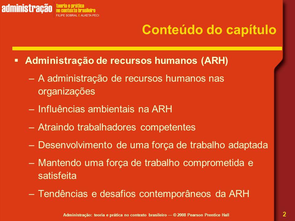 Conteúdo do capítulo Administração de recursos humanos (ARH)