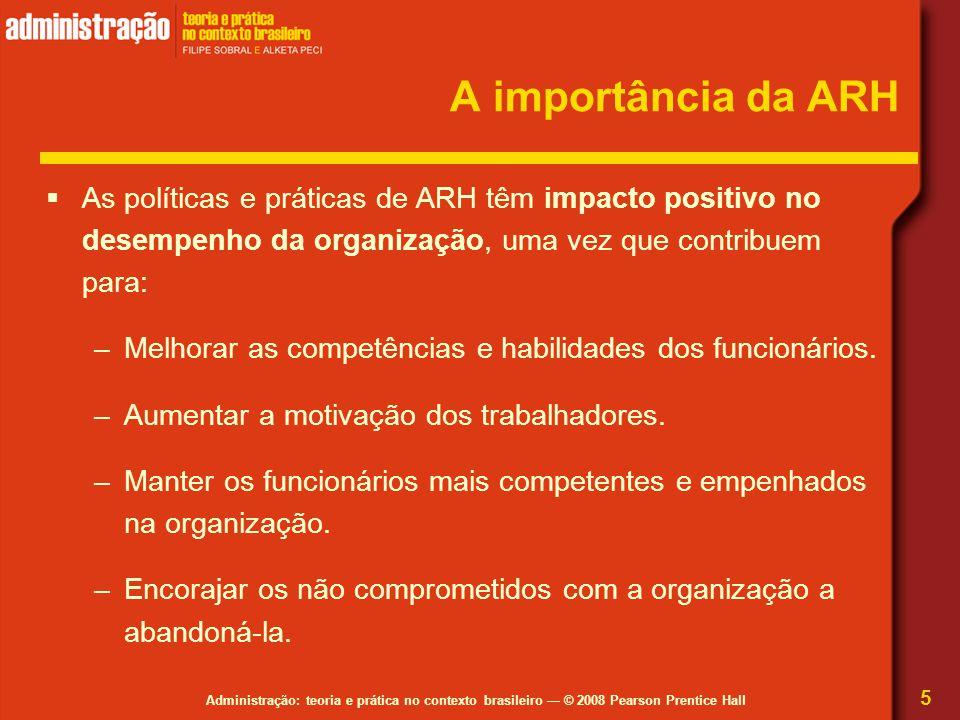A importância da ARH As políticas e práticas de ARH têm impacto positivo no desempenho da organização, uma vez que contribuem para: