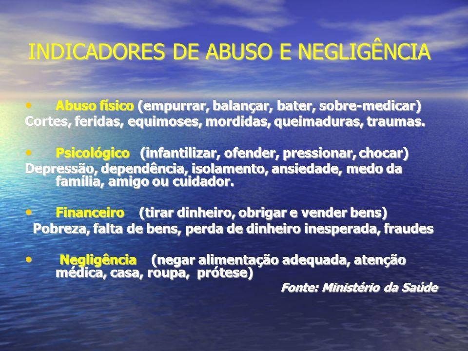 INDICADORES DE ABUSO E NEGLIGÊNCIA