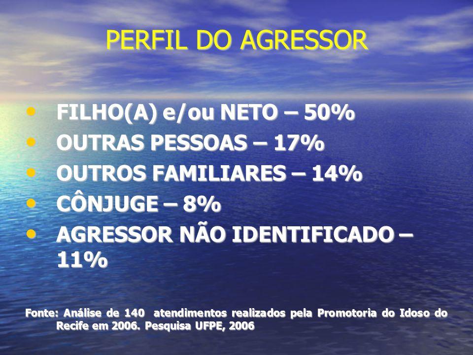 PERFIL DO AGRESSOR FILHO(A) e/ou NETO – 50% OUTRAS PESSOAS – 17%