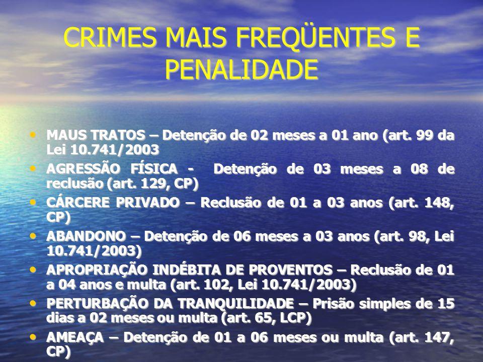 CRIMES MAIS FREQÜENTES E PENALIDADE
