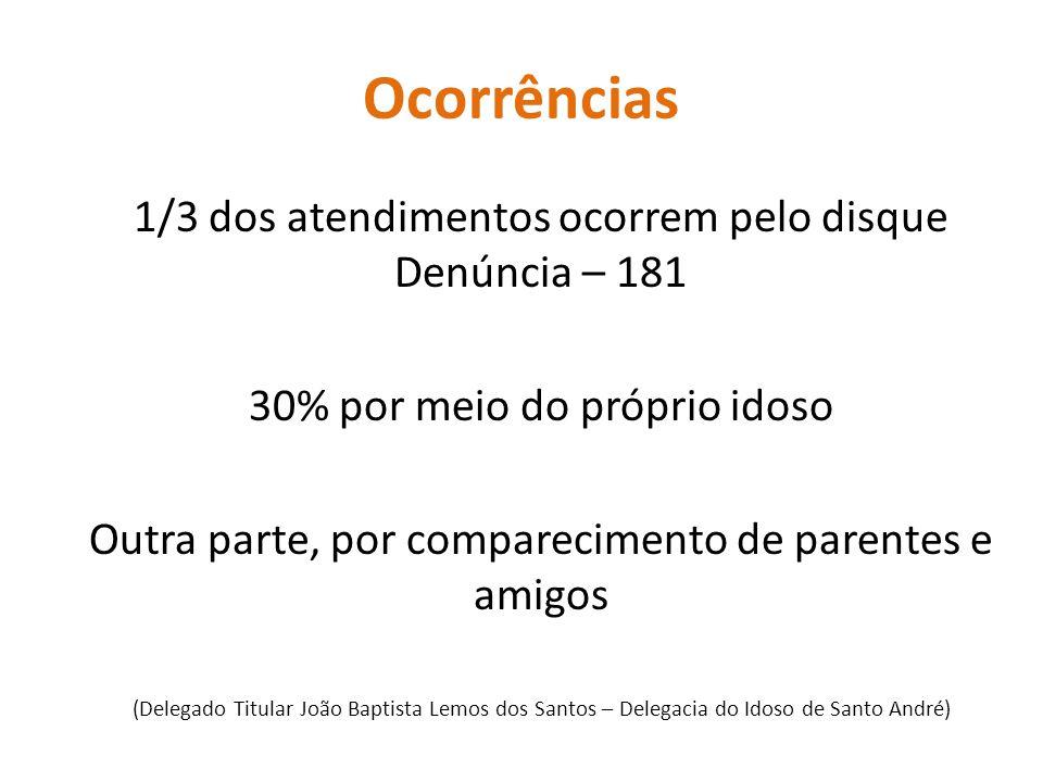 Ocorrências 1/3 dos atendimentos ocorrem pelo disque Denúncia – 181