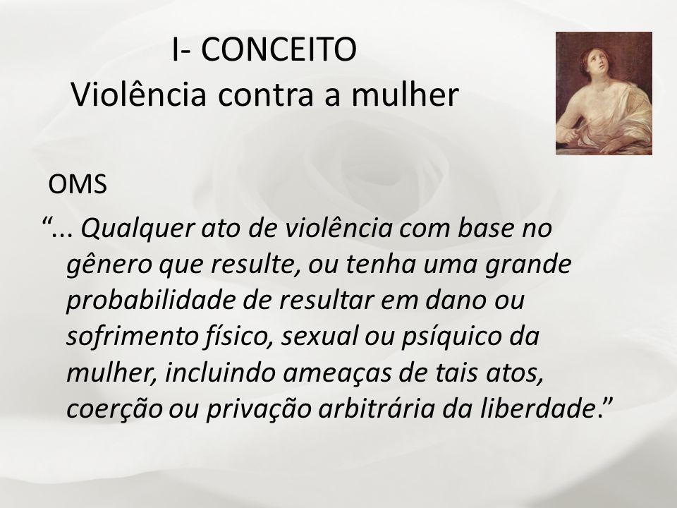 I- CONCEITO Violência contra a mulher