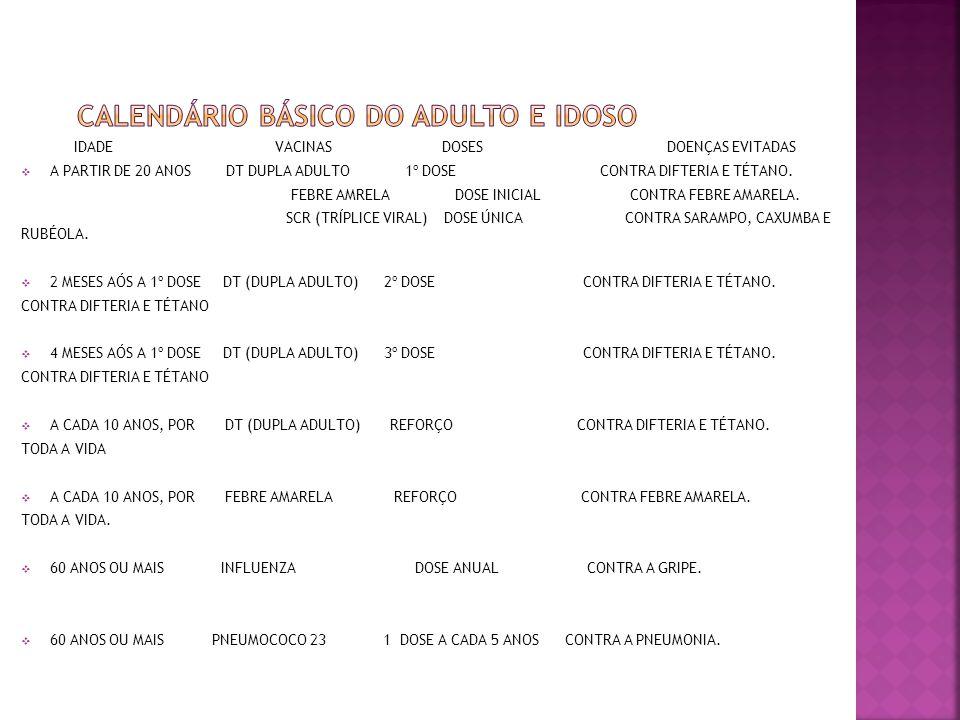 CALENDÁRIO BÁSICO DO ADULTO E IDOSO