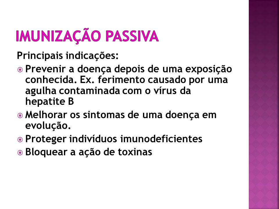 Imunização Passiva Principais indicações: