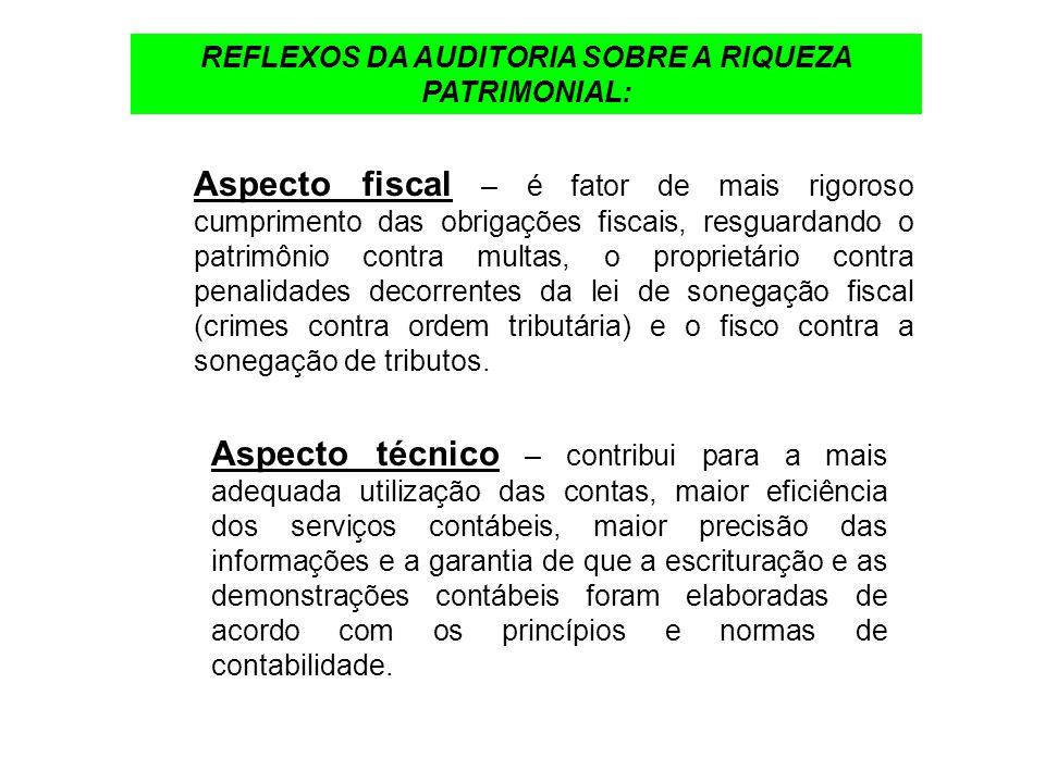 REFLEXOS DA AUDITORIA SOBRE A RIQUEZA PATRIMONIAL: