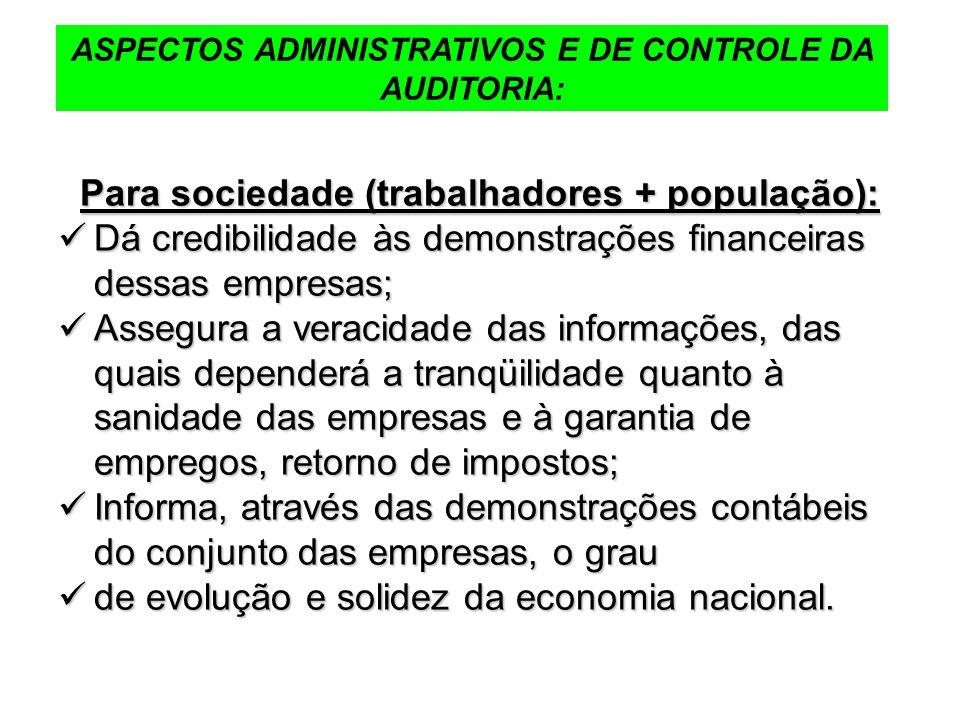 ASPECTOS ADMINISTRATIVOS E DE CONTROLE DA AUDITORIA: