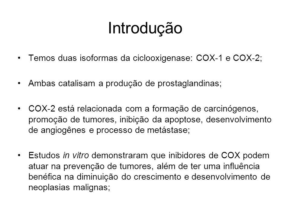 Introdução Temos duas isoformas da ciclooxigenase: COX-1 e COX-2;