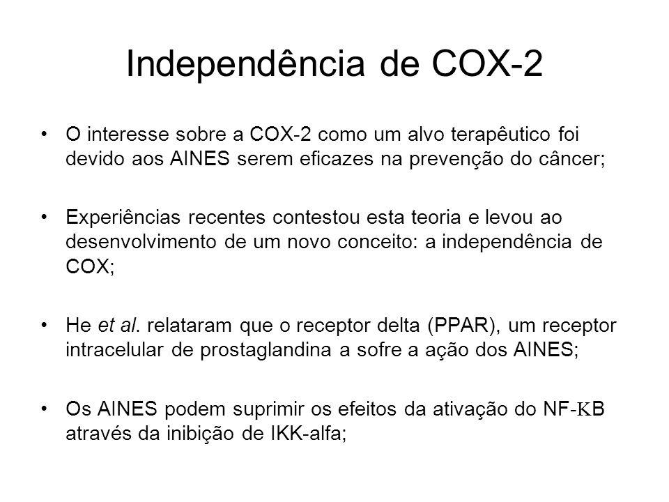 Independência de COX-2 O interesse sobre a COX-2 como um alvo terapêutico foi devido aos AINES serem eficazes na prevenção do câncer;