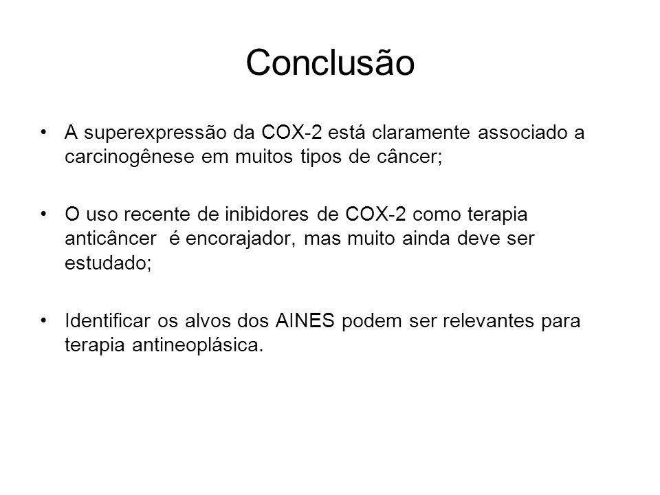 Conclusão A superexpressão da COX-2 está claramente associado a carcinogênese em muitos tipos de câncer;