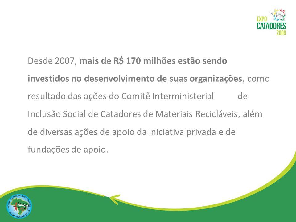Desde 2007, mais de R$ 170 milhões estão sendo investidos no desenvolvimento de suas organizações, como resultado das ações do Comitê Interministerial de Inclusão Social de Catadores de Materiais Recicláveis, além de diversas ações de apoio da iniciativa privada e de fundações de apoio.