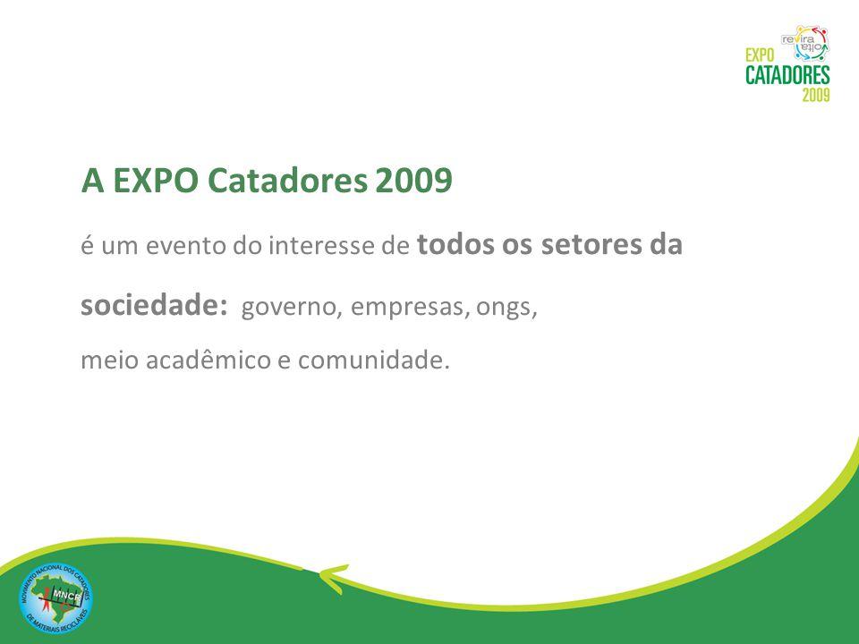 A EXPO Catadores 2009 é um evento do interesse de todos os setores da sociedade: governo, empresas, ongs,
