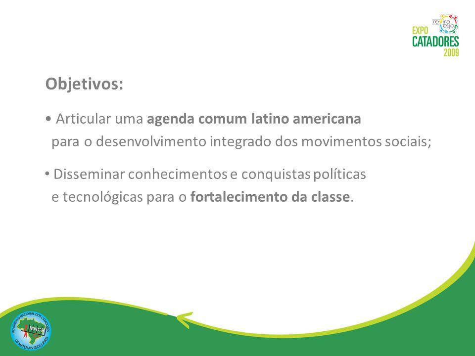 Objetivos: Articular uma agenda comum latino americana