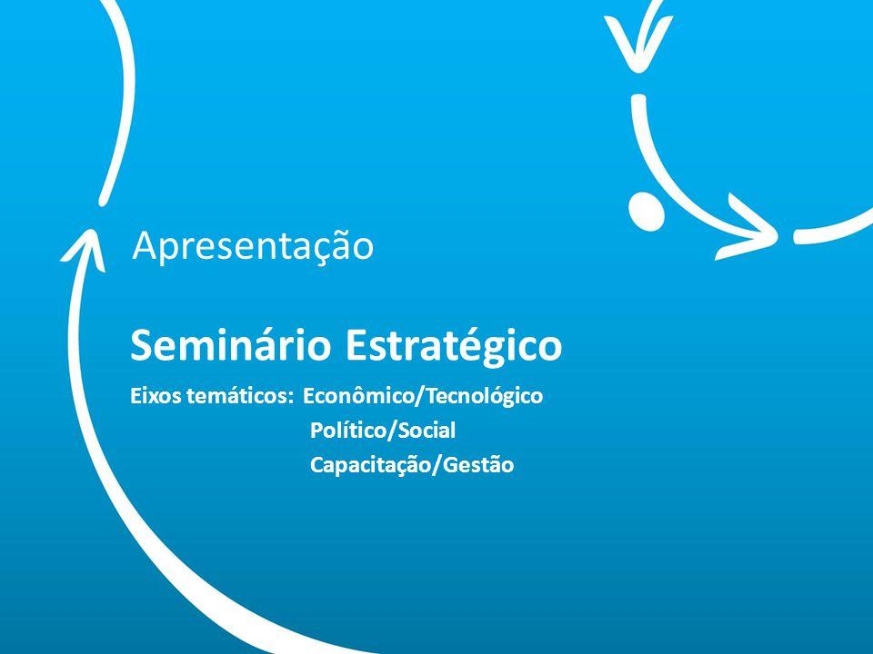 Apresentação Seminário Estratégico Eixos temáticos: Econômico/Tecnológico Político/Social Capacitação/Gestão.