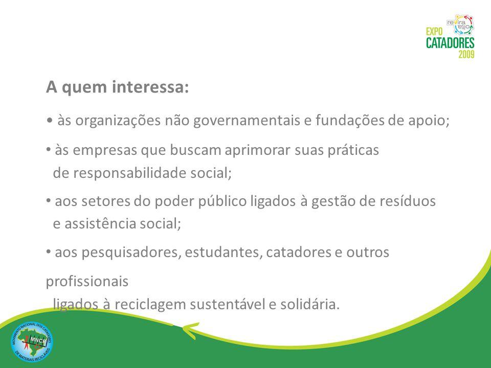 A quem interessa: às organizações não governamentais e fundações de apoio; às empresas que buscam aprimorar suas práticas.