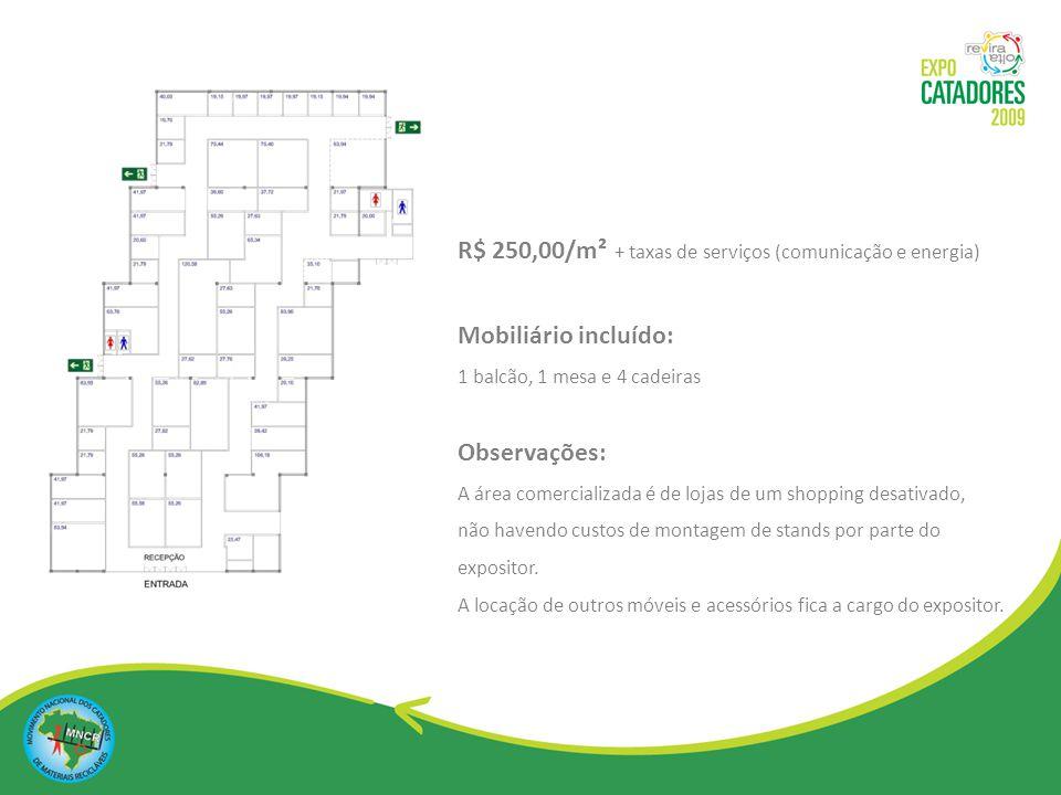R$ 250,00/m² + taxas de serviços (comunicação e energia)
