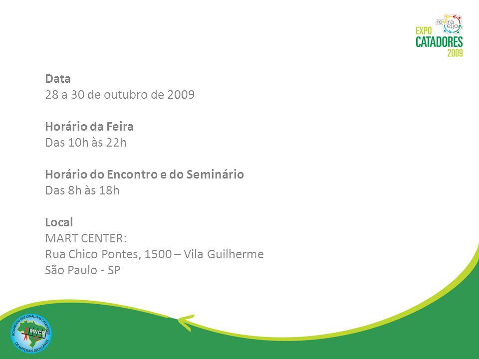 Data 28 a 30 de outubro de 2009 Horário da Feira Das 10h às 22h. Horário do Encontro e do Seminário Das 8h às 18h.