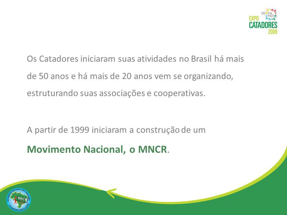 Os Catadores iniciaram suas atividades no Brasil há mais de 50 anos e há mais de 20 anos vem se organizando, estruturando suas associações e cooperativas.