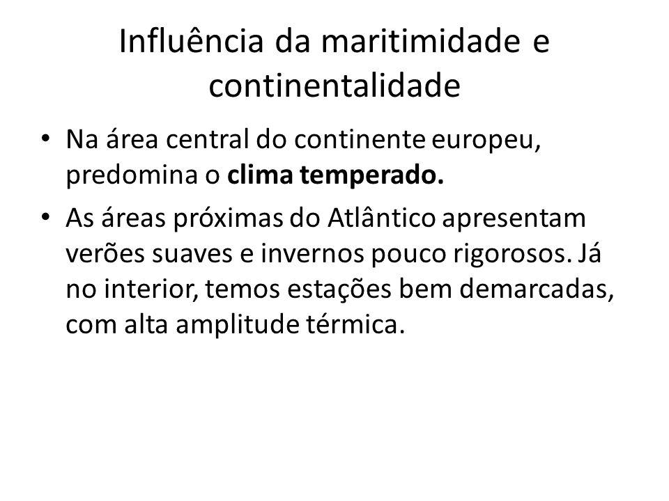 Influência da maritimidade e continentalidade