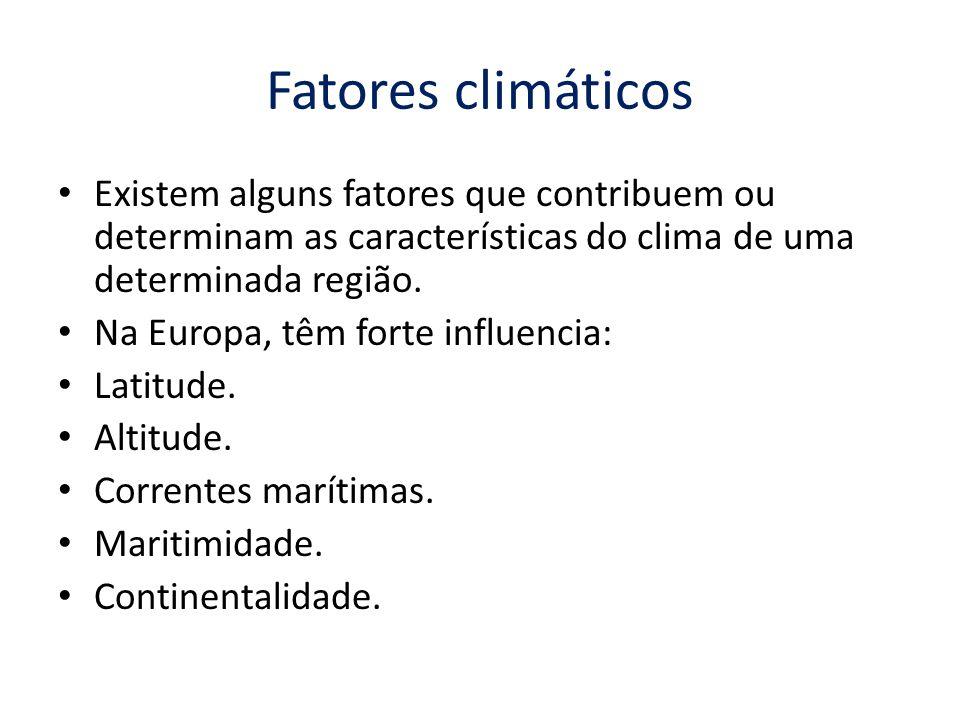 Fatores climáticos Existem alguns fatores que contribuem ou determinam as características do clima de uma determinada região.