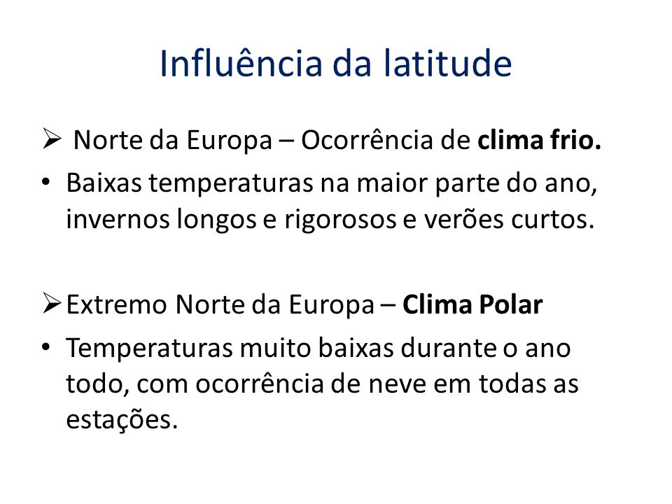 Influência da latitude