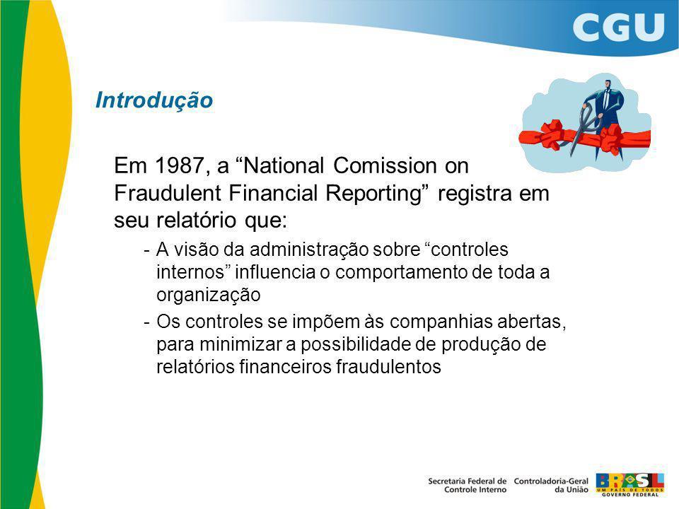 Introdução Em 1987, a National Comission on Fraudulent Financial Reporting registra em seu relatório que: