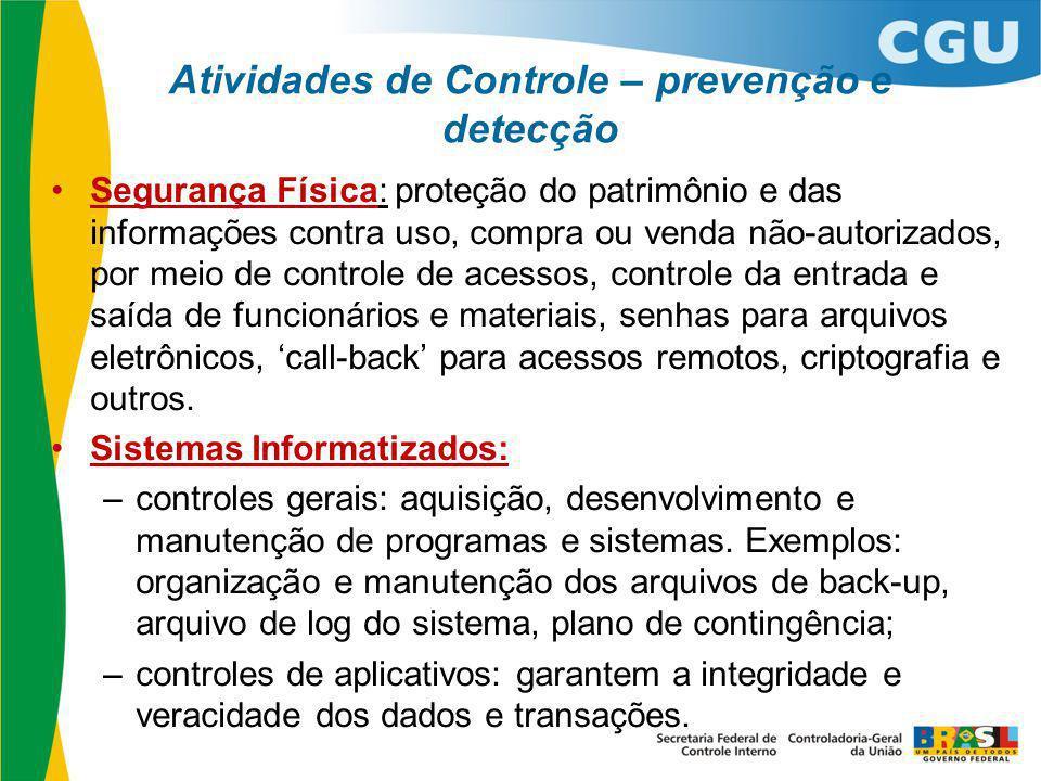 Atividades de Controle – prevenção e detecção