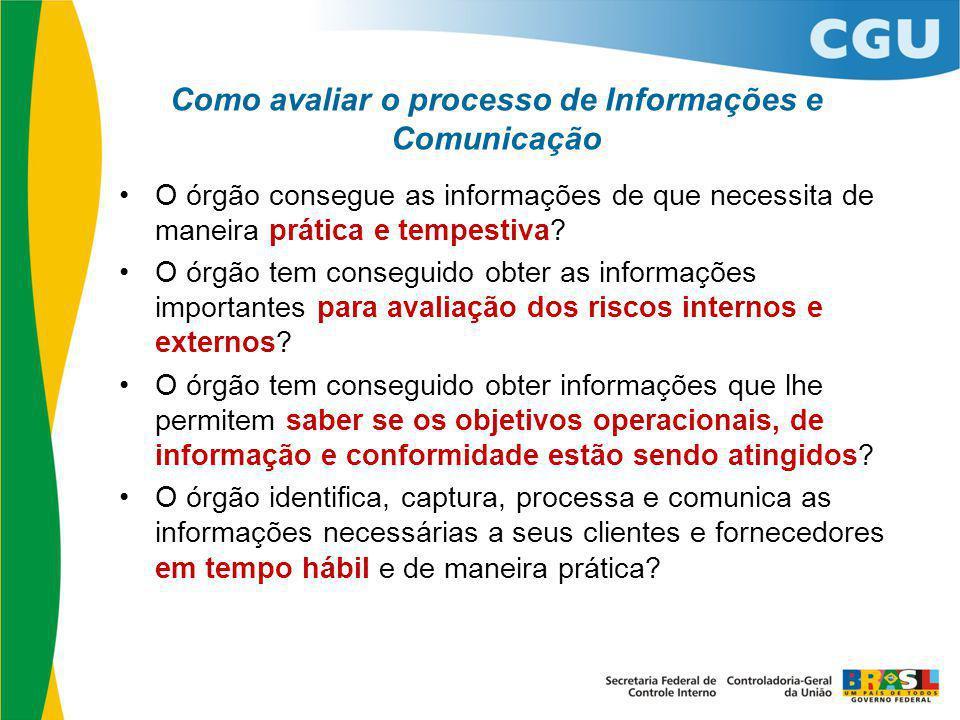 Como avaliar o processo de Informações e Comunicação