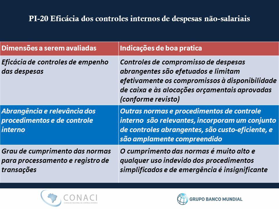 PI-20 Eficácia dos controles internos de despesas não-salariais