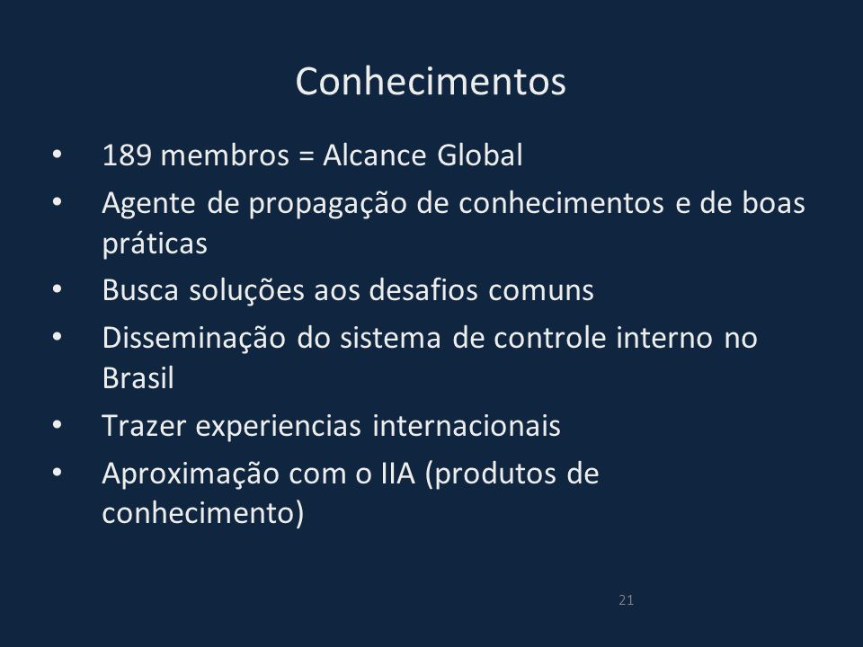 Conhecimentos 189 membros = Alcance Global