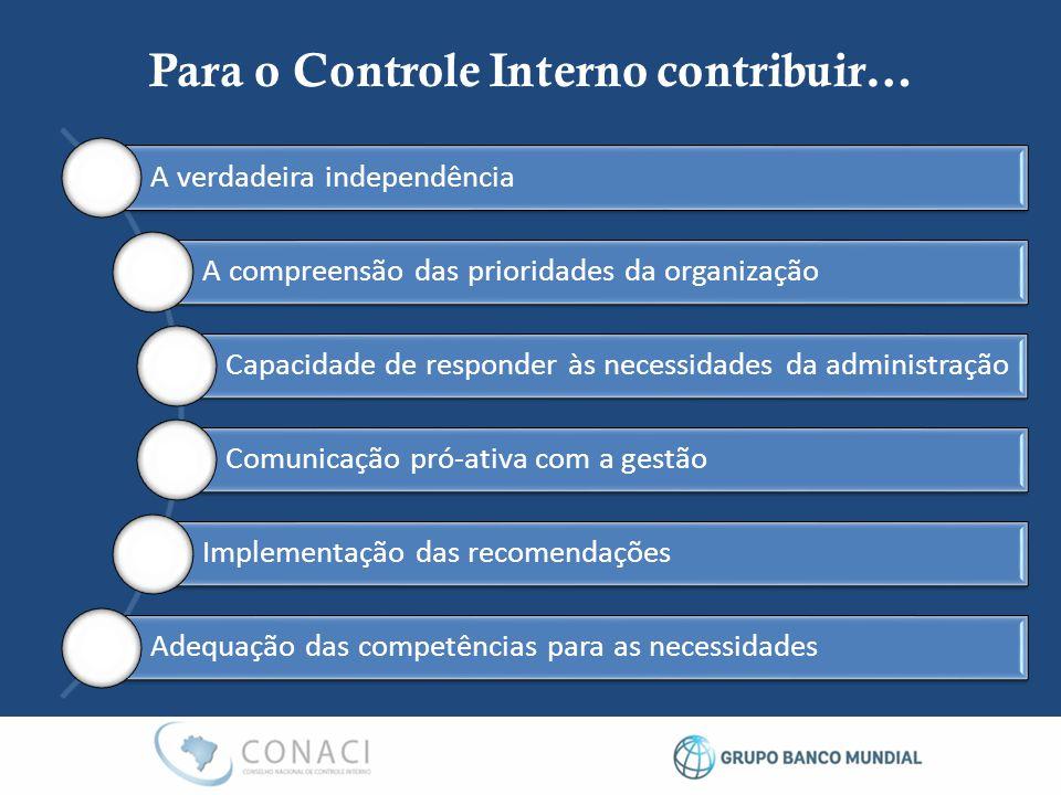Para o Controle Interno contribuir…