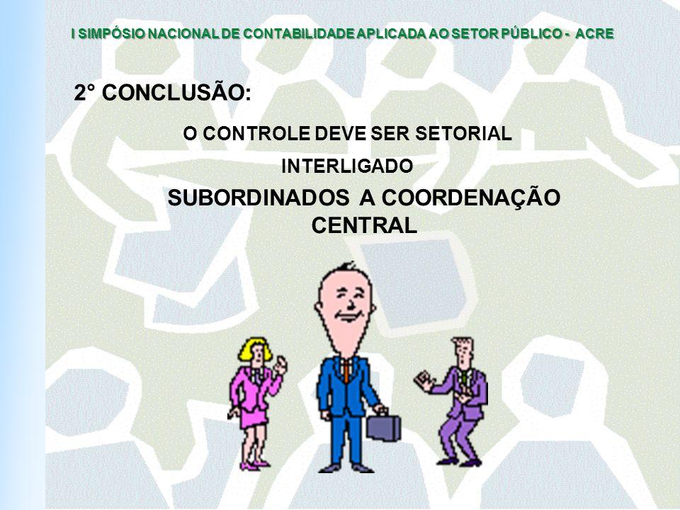 O CONTROLE DEVE SER SETORIAL SUBORDINADOS A COORDENAÇÃO CENTRAL