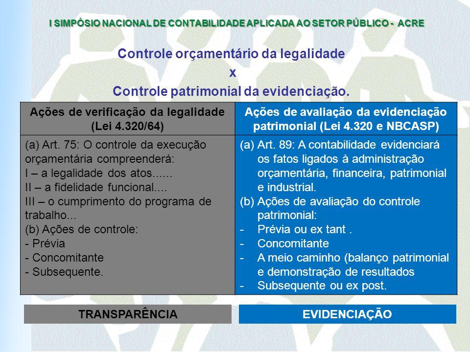 Controle orçamentário da legalidade x Controle patrimonial da evidenciação.