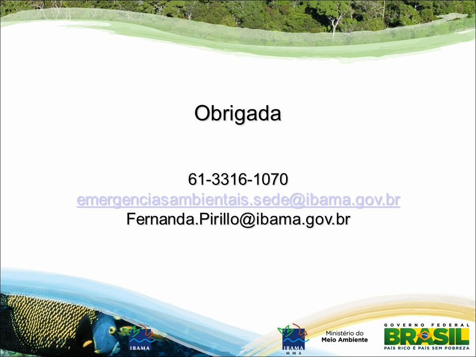Obrigada 61-3316-1070 emergenciasambientais.sede@ibama.gov.br