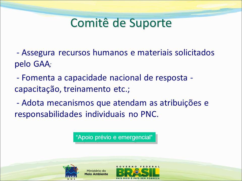 Comitê de Suporte - Assegura recursos humanos e materiais solicitados pelo GAA;