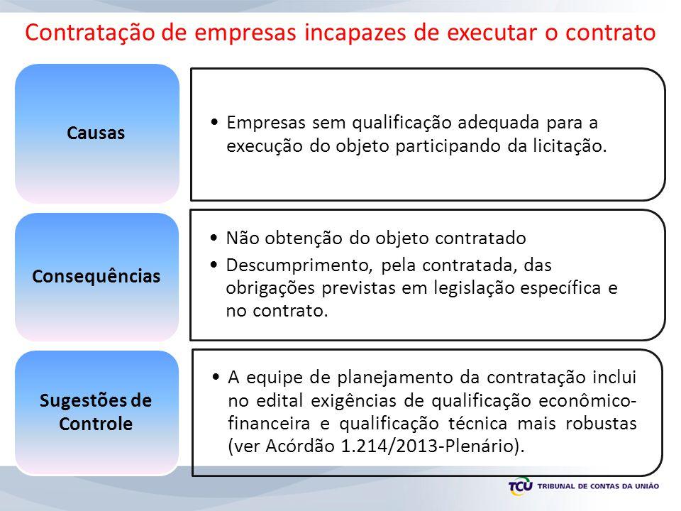 Contratação de empresas incapazes de executar o contrato